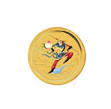 2016 $5 1/20oz Gold Australian Lunar Monkey King Colorized .9999 BU