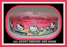 1 INCH ALL HELLO KITTY PINK WITH NEON COLOR TRIM GROSGRAIN RIBBON- 1 YARD