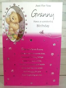Just For You Granny, Have A Wonderful Birthday Card, Cute Bear, Pink