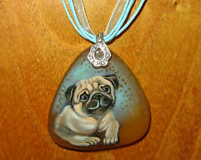 Russian Hand painted STONE pendant Cute Chinese PUG MOPS DOG signed Unique Gift