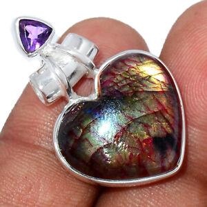 Heart - Red Flash Labradorite & Amethyst 925 Silver Pendant Jewelry BP94505