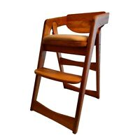 Oak Wood Baby Highchair Feed Kids Chair for Toddler Safety Seat gold color stool