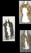 3 Women's winter Scarf Shawl Thing Knit Cowl Ruffles Leopard Animal Print