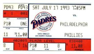 1993 San Diego Padres Philadelphia Phillies 7/17 Ticket Lenny Dykstra HR *ST1U