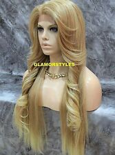 Long Straight Blonde Mix Full Lace Front Wig Heat Ok Hair Piece #T27/613 NWT
