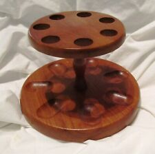 Round Wooden Pipe Holder, Holds Seven Pipes