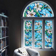 45cm*100cm Privacy Protective Blue Orchid Window Film DIY Stained Glass Sticker