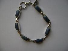 Sterling Silver Genuine Lapis Rectangle Natural Stone Link Bracelet New