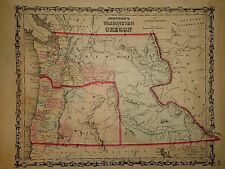 1860's MAP ~ WASHINGTON - NEBRASKA TERRITORIES  ~ ORIGINAL MAP *FREE S&H - J18