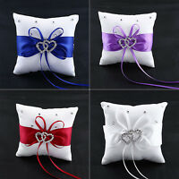 DI- Popular Wedding Bridal Bowknot Double Heart Ring Bearer Pillow Cushion