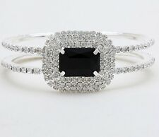 Black Silver Cuff Rhinestone Crystal Wedding Formal Bridal Prom Pageant Bracelet