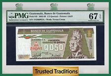 "TT PK 65 1983-89 GUATEMALA 1/2 QUETZAL ""TECUN UMAN"" PMG 67 EPQ TOP POPULATION!"