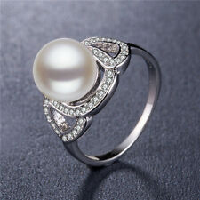 Gorgeous Women Round Cut White Pearl 925 Silver Jewelry Wedding Ring Size 8