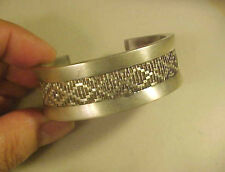 "GORG Signed ""Woven Rug"" Motif Sterling Silver Cuff Bracelet 56.5 grams NA?"