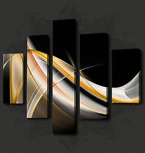 BLACK GOLD ABSTRACT WAVES 5 PANELS WALL ART CANVAS PRINT PICTURE READY TO HANG