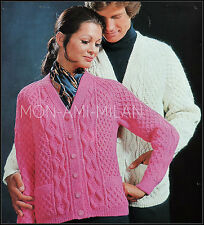 """Vintage Knitting Pattern • Ladies/Mens • ARAN CABLE CARDIGAN with POCKETS 34-42"""""""