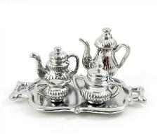 Dolls House Silver Tea Set Victorian Dining Sitting Room Accessory 1:12 Scale