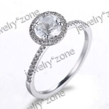 925 Sterling Sliver Round Cut White Topaz Diamonds Engagement Wedding Halo Ring