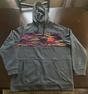 Nike Mens Pullover Training Hoodie Therma Dri-fit Gray Yellow CV7725-032 XL