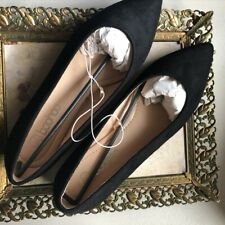 Boohoo Ballet Flats Shoes Eur 39 US 8 Black Suede Pointy Toe Flat Pumps $28 NWT
