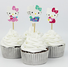 24pcs Hello Kitty Cup Cake Topper Pick Hello Kitty Party Birth Day Bday Supplies