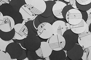 Rustic Circle Wedding Table Decor/Confetti - Sheet Music/Notes & Black Paper Mix