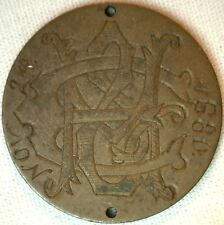 """Love Token on US Two Cent Bronze Coin  Engraved """"M & C Nov 2nd, 1680""""    K"""