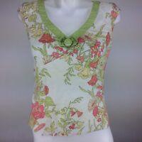 Ann Taylor Loft Women's Sleeveless V-Neck Blouse Sz. 4 Multi-Color Floral Print