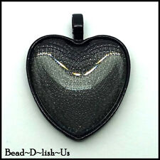 10pc x 25mm HEART Pendant DIY KIT , Setting and Glass Cabochon - BLACK