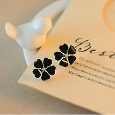 Screw Back Elegant Women Flower Design Crystal Rhinestone Ear Stud Earrings