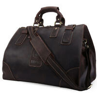 Mens Vintage Real Leather Large Luggage Duffle Travel Overnight Gym Bag Weekend