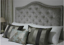 BED HEAD QUEEN SIZE BUTTONED UPHOLSTERED BEDHEAD / HEADBOARD WITH CHROME STUDS