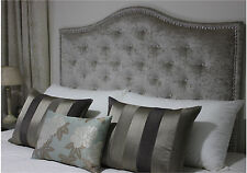 NEW BED HEAD DOUBLE SIZE UPHOLSTERED BEDHEAD / HEADBOARD WITH CHROME STUDS