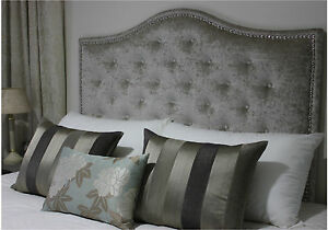 AUSTRALIAN MADE QUEEN BUTTONED UPHOLSTERED BEDHEAD / HEADBOARD WITH CHROME STUDS