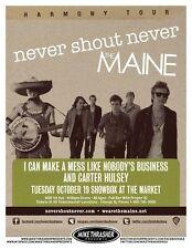 NEVER SHOUT NEVER Gig POSTER Oct. 2010 Seattle Washington Concert