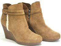 UGG Womens Alexandra Wedge Brown Tan Wedge Suede Sherpa Booties Shoes MO33