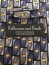 KILBURNE & FINCH Hand Made Silk Tie, Multicolored. 100 % Silk, Handmade.