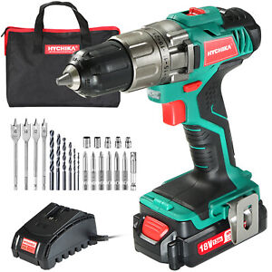 HYCHIKA 18V Cordless Drill Driver Screwdriver Accessories Household HandTool Kit