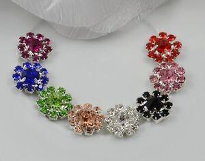 10 Small Silver Tone Diamante Crystal Embellishments Craft DIY Jewellery Making