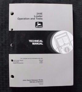 JOHN DEERE 244E 244 LOADER TRACTOR OPERATION & TEST TECHNICAL SERVICE MANUAL