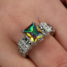 Size 8 Women's Rainbow Topaz Engagement & Wedding Ring white Rhodium Plated Gift