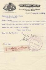 More details for u.s. the c.a. nichols company springfiled 1906 logo invoice + bank slip rf 44020