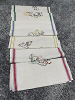 Vintage Dog Dish Towels Lot Of 6 Embroidered 29 X 16 Linen