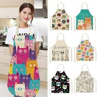 Cotton Linen Kitchen Apron Cute Cat Animal Printed Washable Sleeveless Aprons