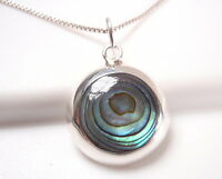 Abalone Circle 925 Sterling Silver Round Necklace Corona Sun Jewelry