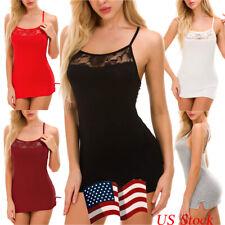 Women Sexy Lingerie Cotton Lace Mini Babydoll Chemises Sleepwear Strappy Dress