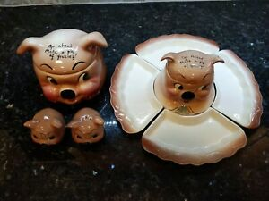 "Rare 1940's Set ""Make A Pig Of Yourself"" DeForest"