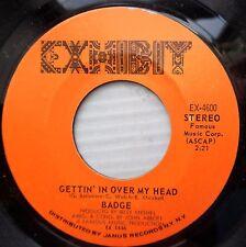 BADGE teen David Cassidy sound 45 GETTIN IN OVER MY HEAD IT'S STRAIGHT AHEAD F51