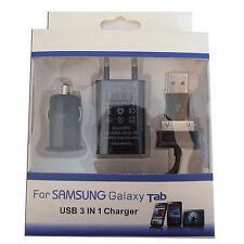 CARGADOR 3 EN 1 ADAPTADOR DE CASA Y COCHE Y CABLE USB PARA SAMSUNG GALAXY TAB