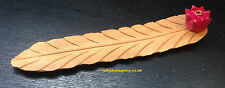 INCENSE STICK HOLDER AGARBATTI STAND HAND MADE CARVED WOODEN LEAF SHAPE BURNER